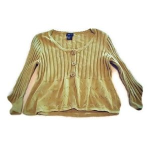 Rqt bell sleeve olive green sweater size medium
